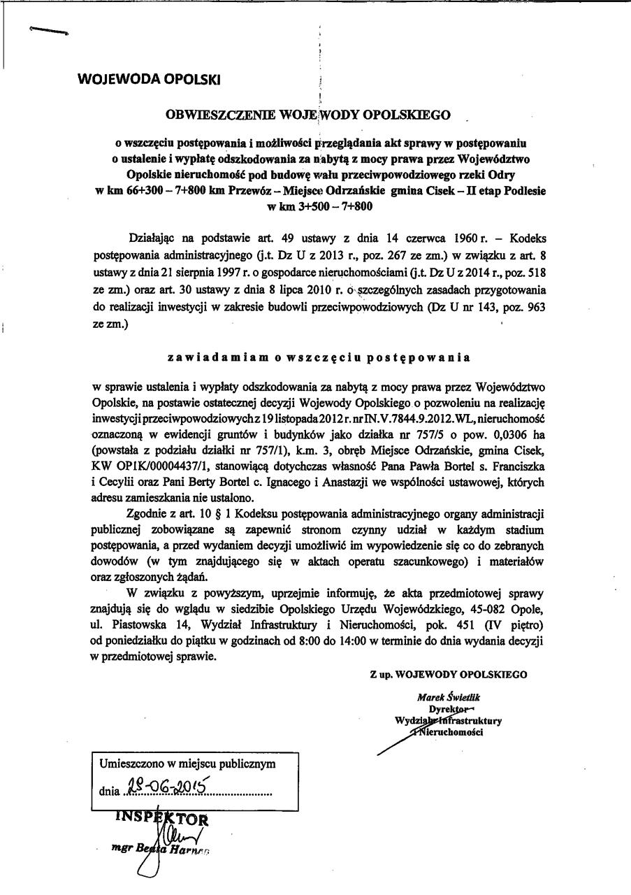 Obwieszczenie Wojewody Opolskiego o wszczęciu postępowania w sprawie ustalenia i wypłaty odszkodowania.png
